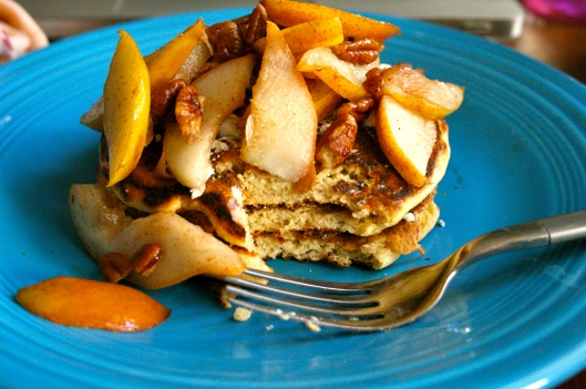Sauteed apples with protein pancakes and