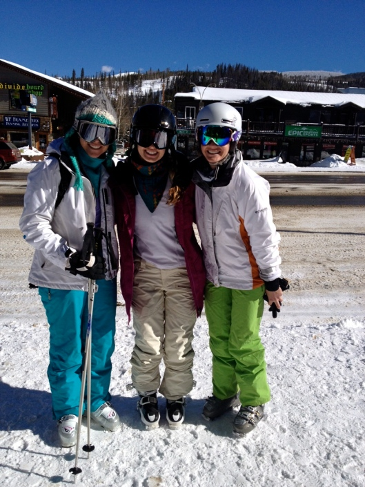 Yay skiing with cool girls! Boo on looking short and stumpy... I swear we're all tall!
